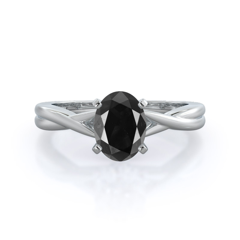 Cathedral Twist Black Diamond Ring, 14KT White Gold