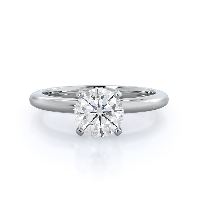 Classic Four Prong Solitaire Moissanite Ring, 14KT White Gold