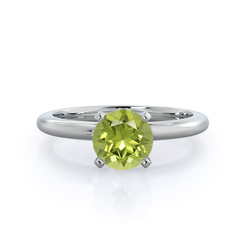 Classic Four Prong Solitaire Peridot Ring, 14KT White Gold