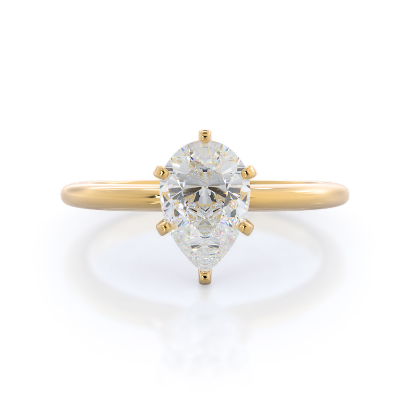 Classic six prong solitaire pear diamond engagement ring, 14KT Yellow Gold