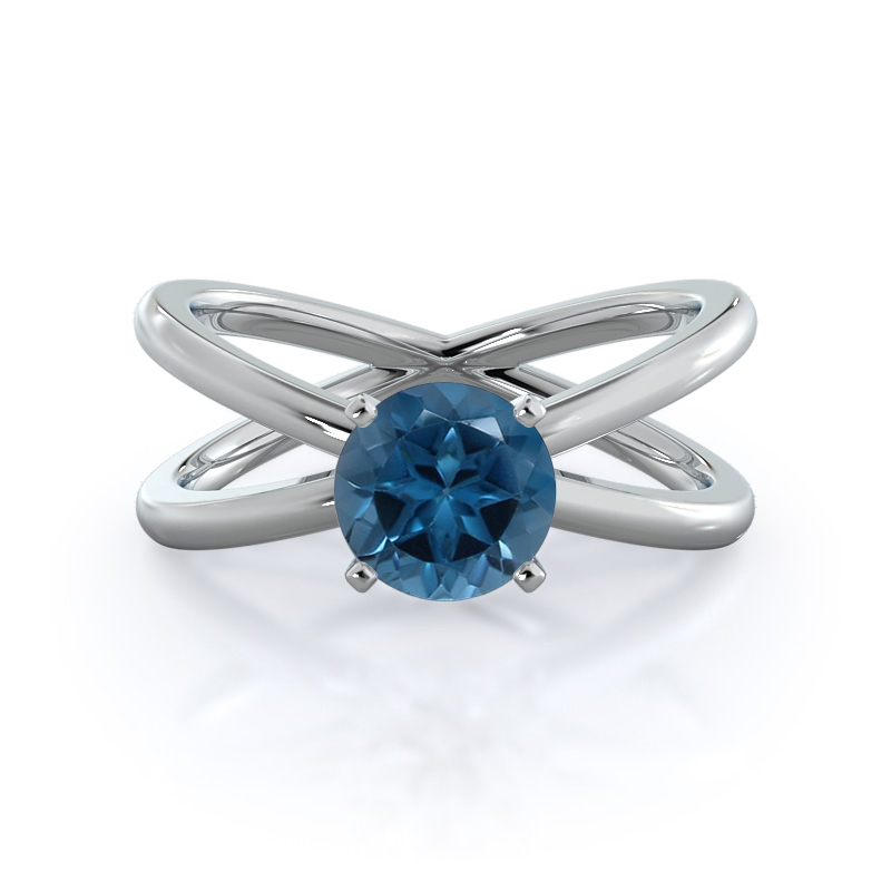 Crisscross London Blue Topaz Ring, 14KT White Gold