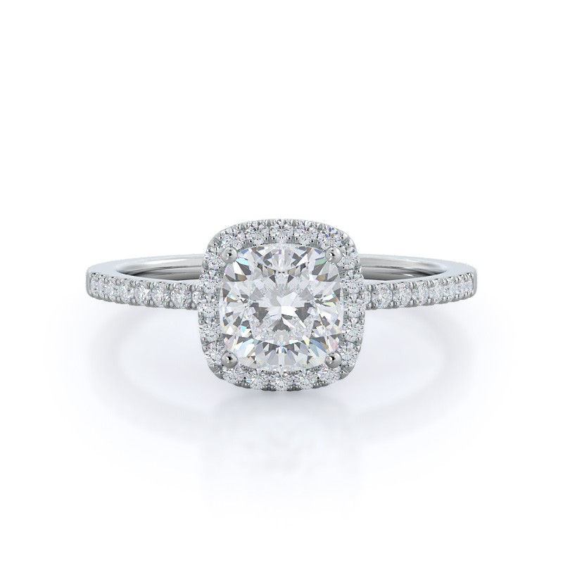 Cushion Pave Halo Diamond Ring, 14KT White Gold