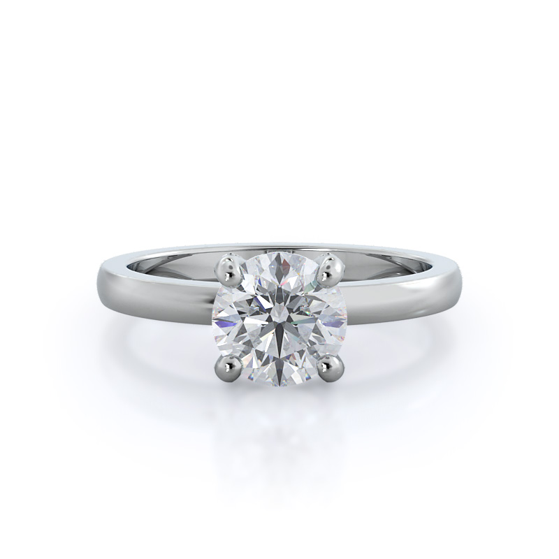 Diamond basket solitaire engagement ring, 14KT White Gold