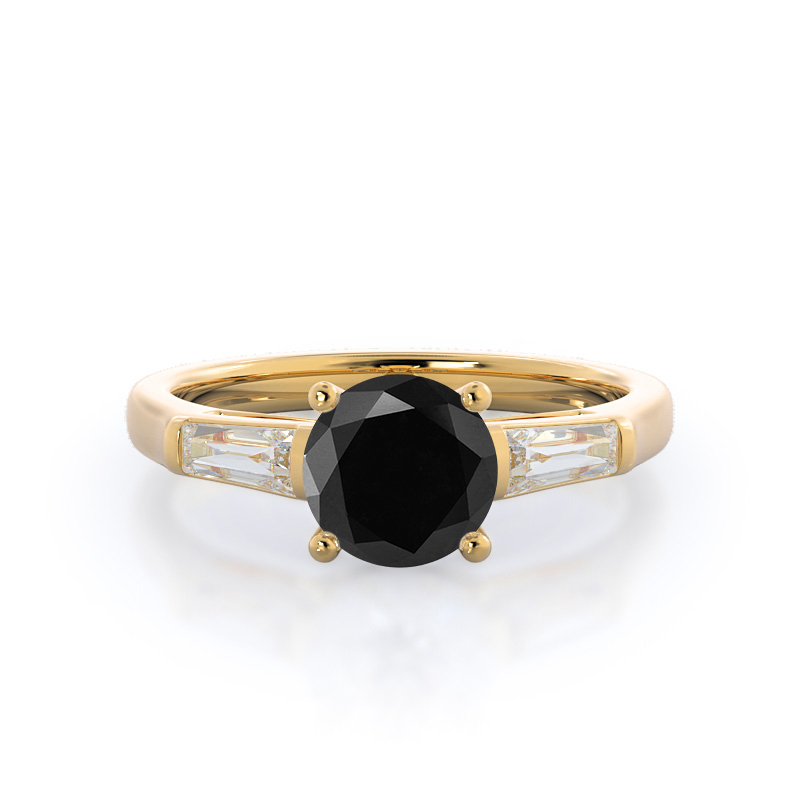 Elegance Three Baguette Black Diamond Ring, 14KT Yellow Gold