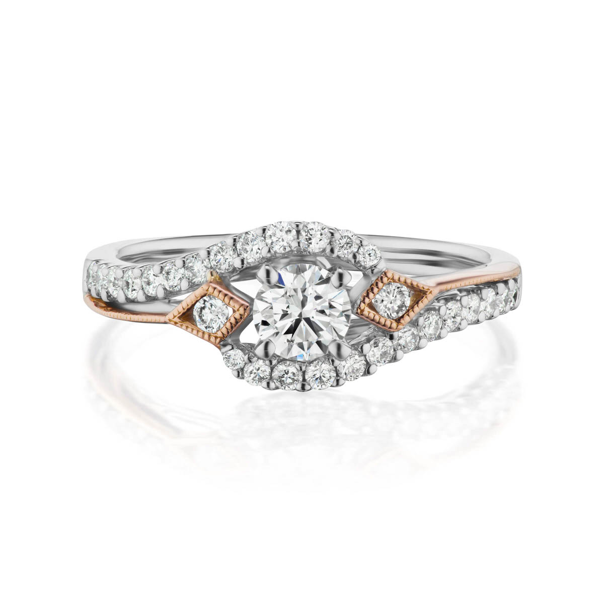 Endear preset engagement diamond ring, 14KT White Gold and Rose Gold