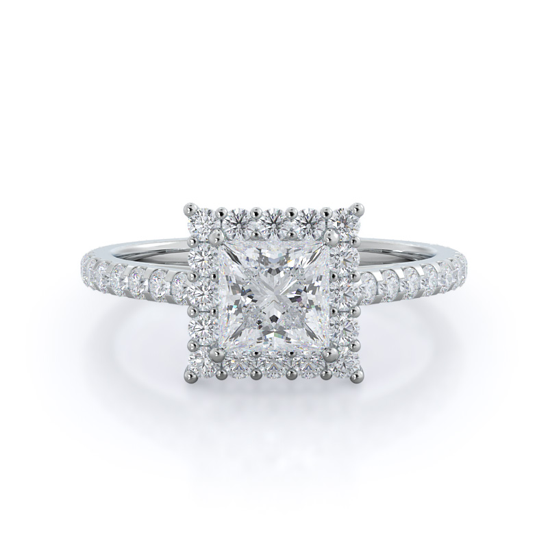 Floating halo princess diamond engagement ring, 14KT White Gold
