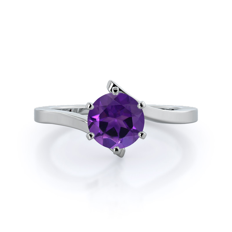 Flourish Solitaire Amethyst Rings, 14KT White Gold