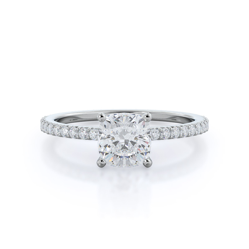 French Cut Pave Cushion Diamond Ring, 14KT White Gold