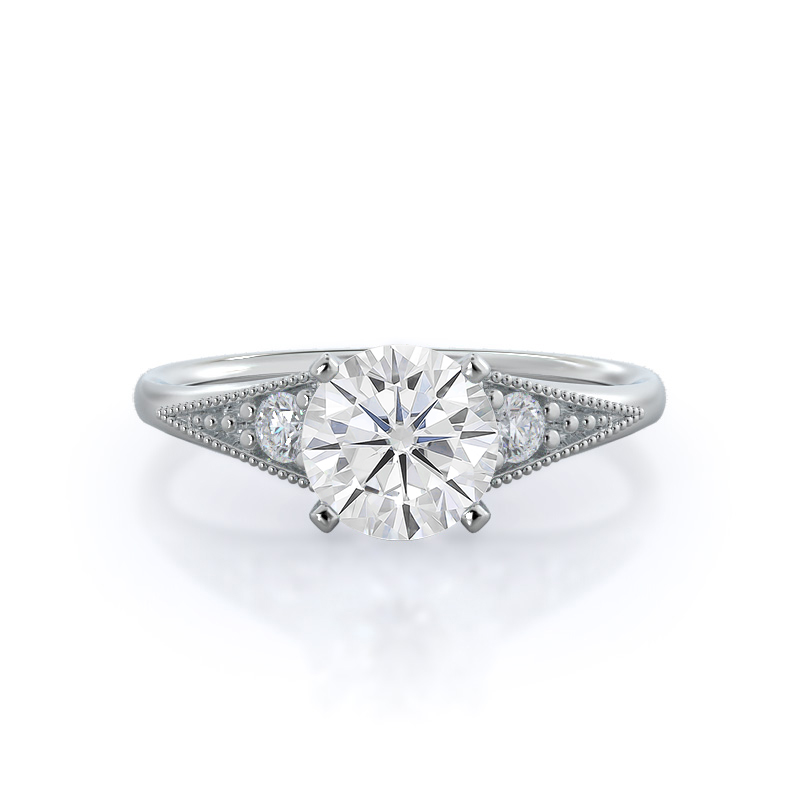 Heirloom Milgrain Moissanite Ring, 14KT White Gold