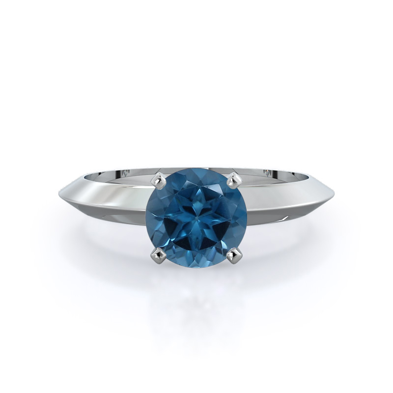 Knife Edge Solitaire London Blue Topaz Ring, 14KT White Gold