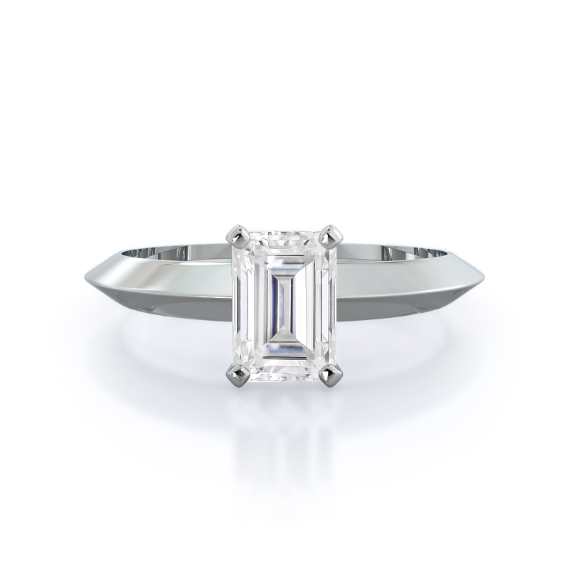 Knife Edge Solitaire Moissanite Ring, 14KT White Gold