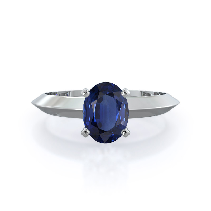Knife Edge Solitaire Sapphire Ring, 14KT White Gold