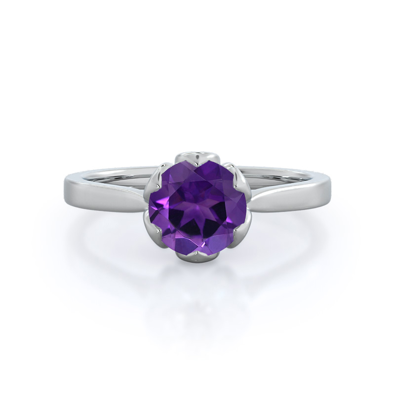 Lily Amethyst Ring, 14KT White Gold