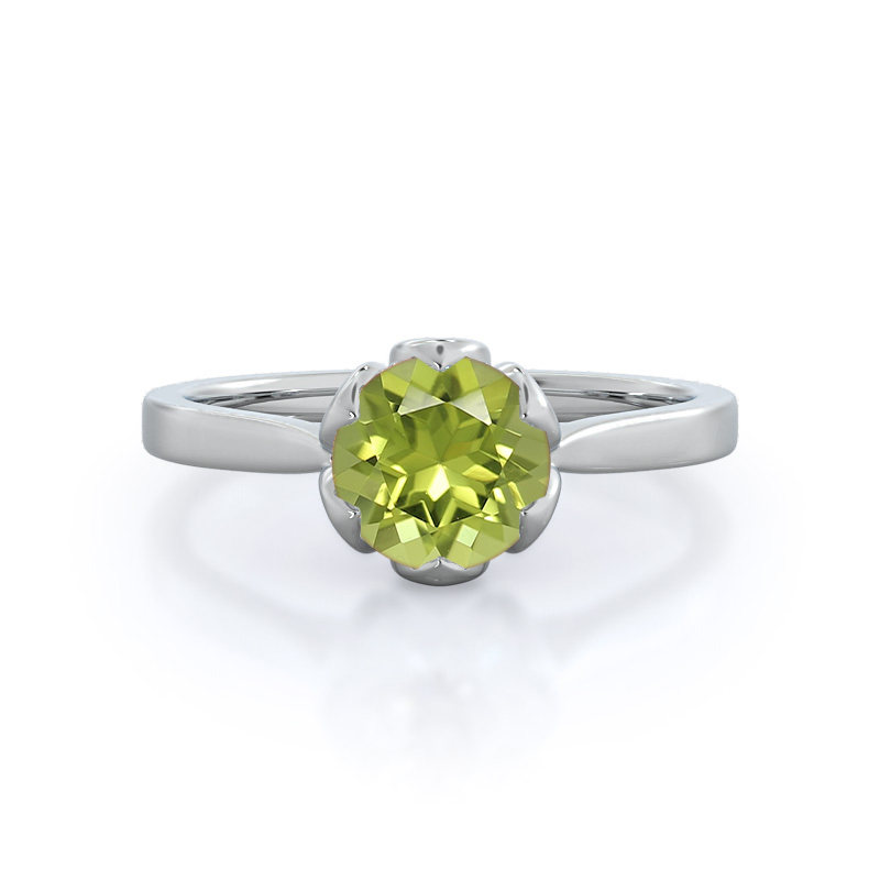 Lily Peridot Ring, 14KT White Gold