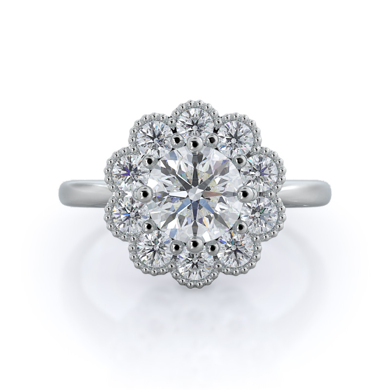 Milgrain flower halo diamond engagement ring, 14KT White Gold