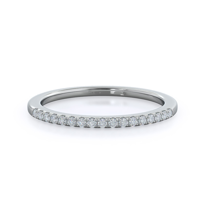 Oval Cathedral Halo Diamond Wedding Band, 14KT White Gold
