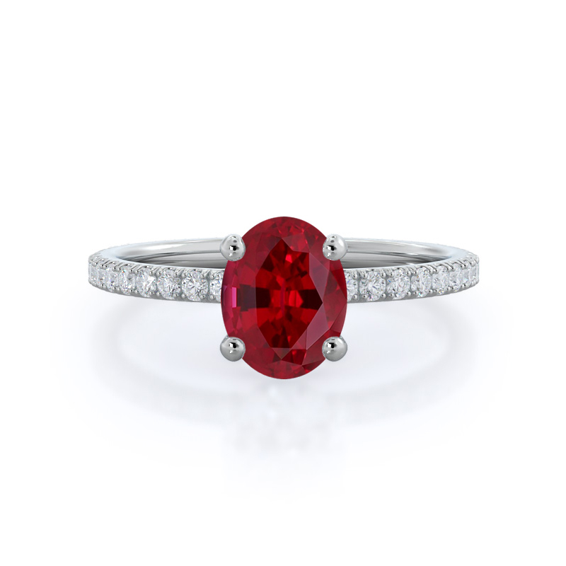 Pave Love Knot Ruby Ring, 14KT White Gold
