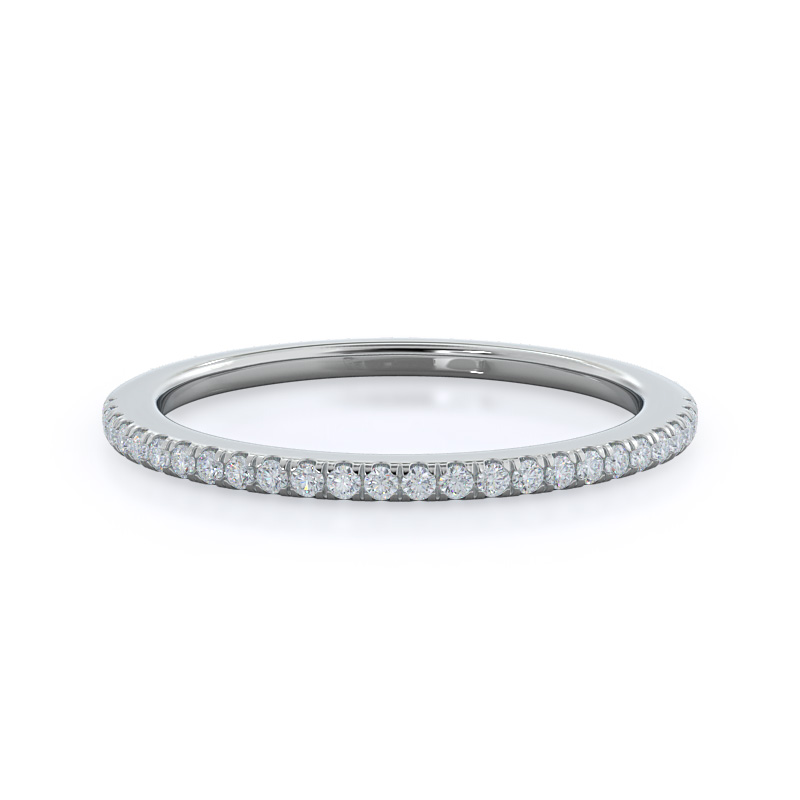 Pave Plain Shank Halo Diamond Wedding Band, 14KT White Gold