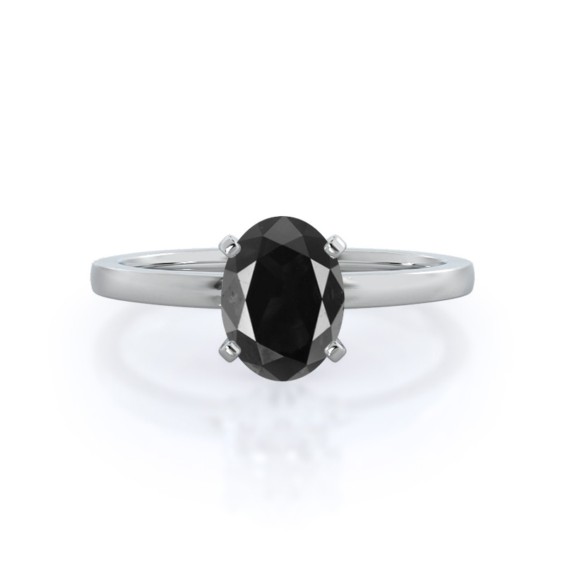 Petite Solitaire Oval Black Diamond Ring, 14KT White Gold