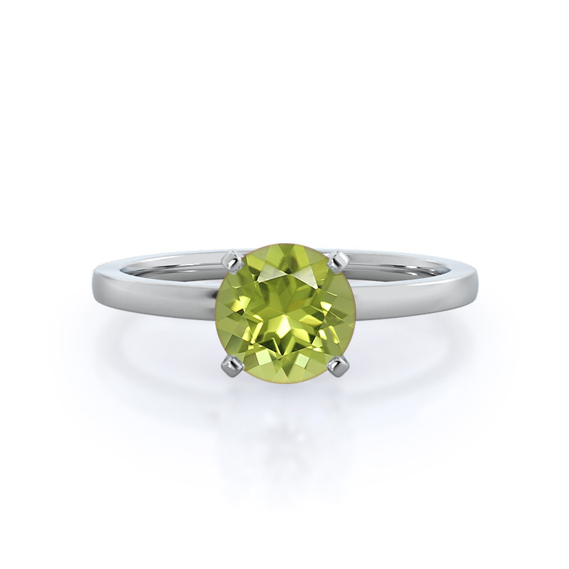 Petite Solitaire Peridot Ring, 14KT White Gold