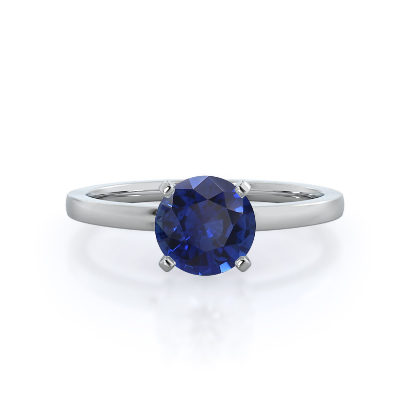 Petite Solitaire Sapphire Ring, 14KT White Gold
