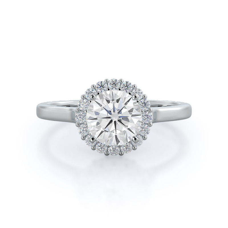 Plain Shank Halo Moissanite Ring, 14KT White Gold