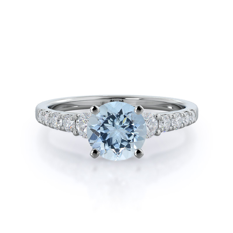 Regalia Pave Aquamarine Ring, 14KT White Gold