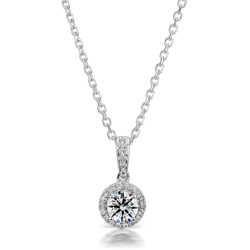 Dainty Necklace: Holiday gift idea: Round Diamond Halo Pendant