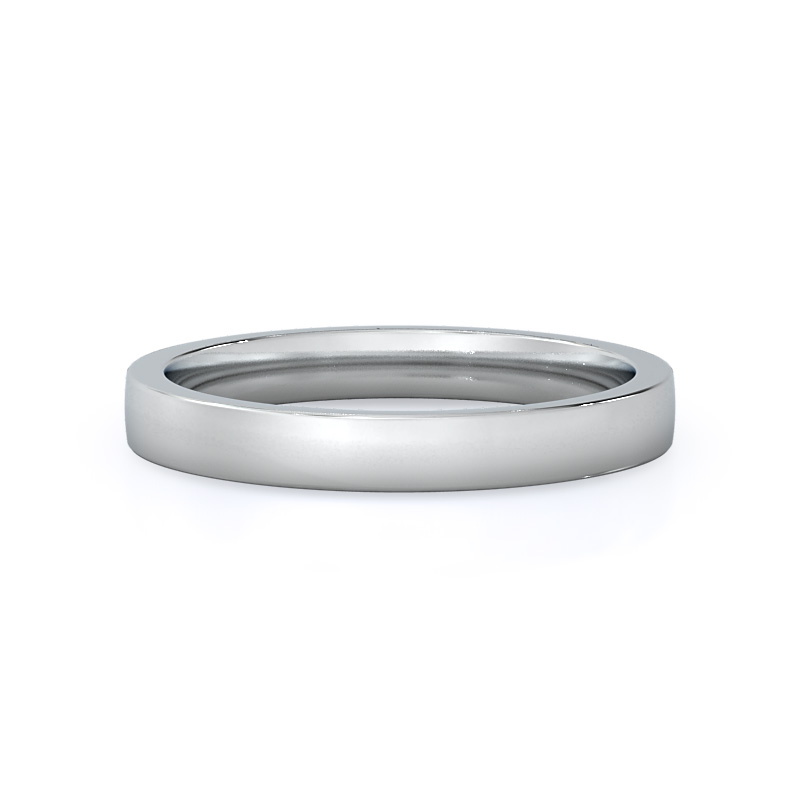 Smooth Edge Cathedral Wedding Band, 14KT White Gold