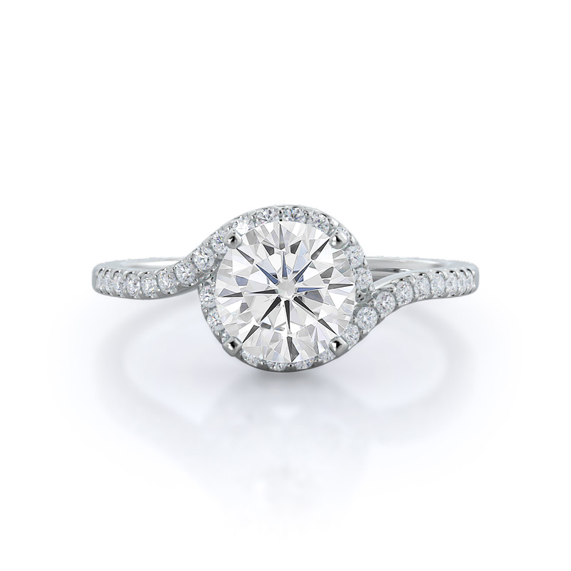 Tapered Halo Moissanite Ring, 14KT White Gold
