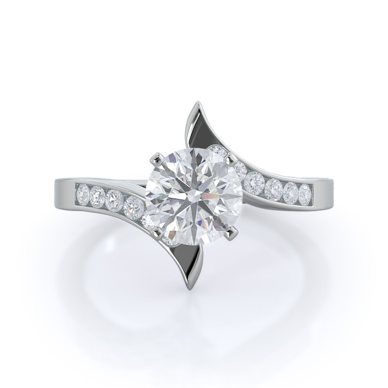 Tapered diamond engagement ring, 14KT White Gold