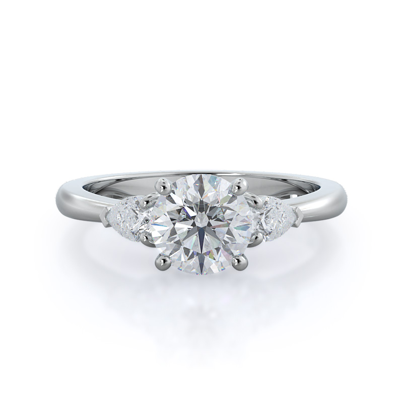 Three stone pear diamond engagement ring, 14KT White Gold