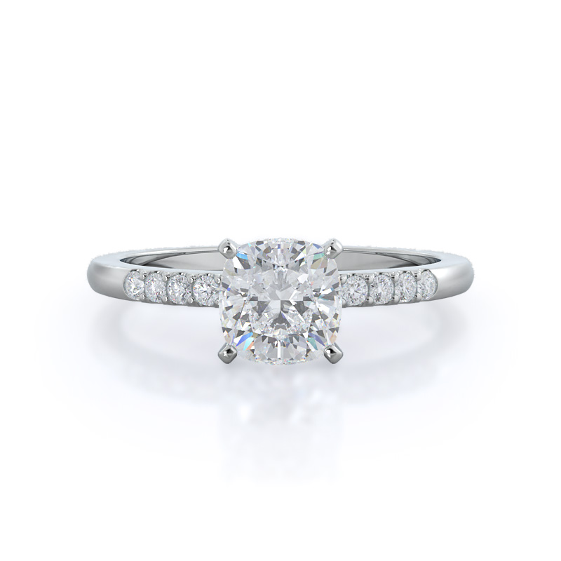 Traditional Pave Cushion Diamond Ring, 14KT White Gold