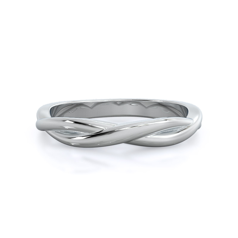 Twisting Solitaire Wedding Band, 14KT White Gold