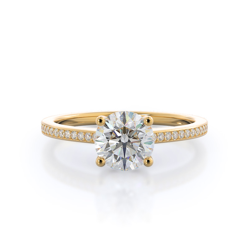 Underhalo classic diamond engagement ring, 14KT Yellow Gold
