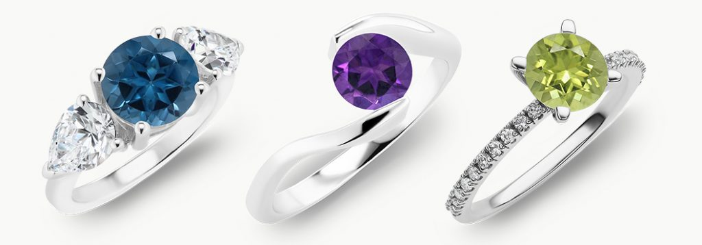 London blue topaz three stone ring, Modern amethyst ring, Pave peridot ring