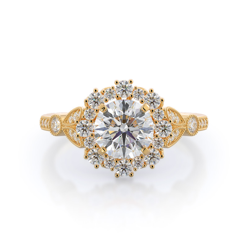 Vintage leaf halo diamond engagement ring, 14KT Yellow Gold