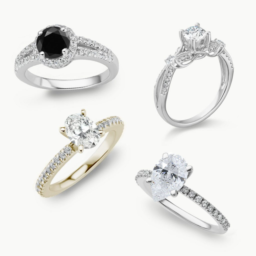 2020 Winter Engagement Ring Trends: black diamond ring, yellow gold ring, pear ring, and nature-inspired ring