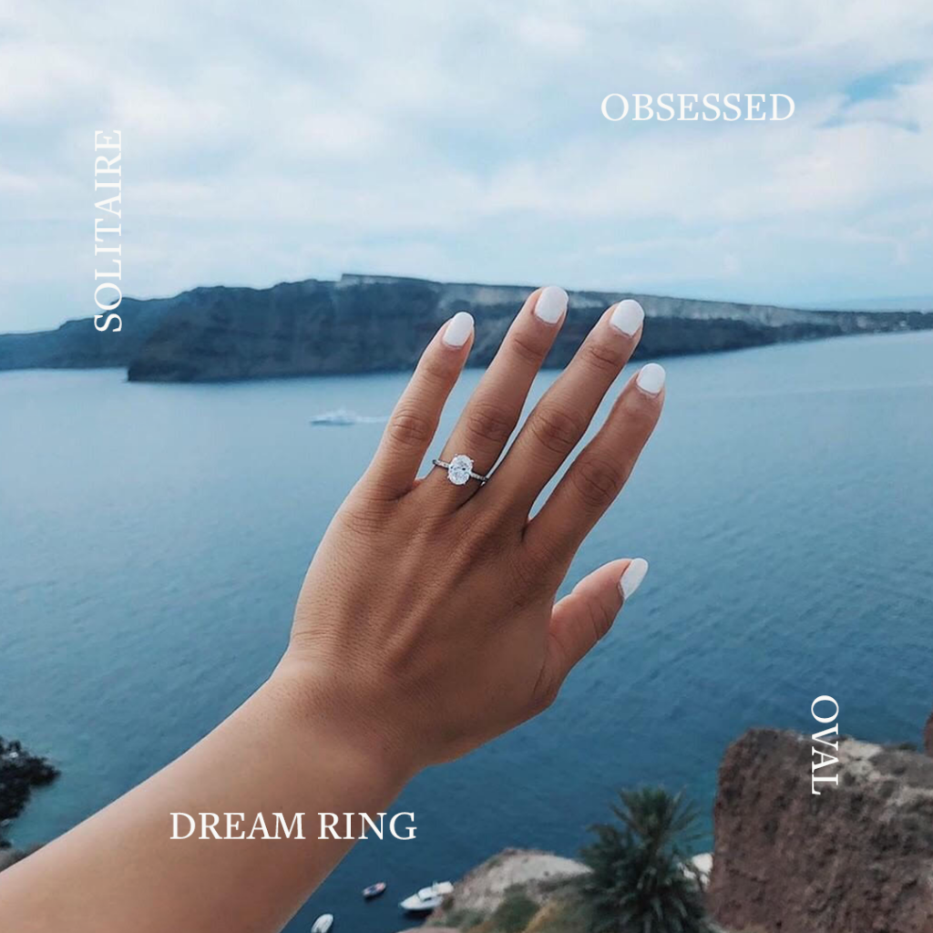 Santorini proposal: oval solitaire diamond engagement ring