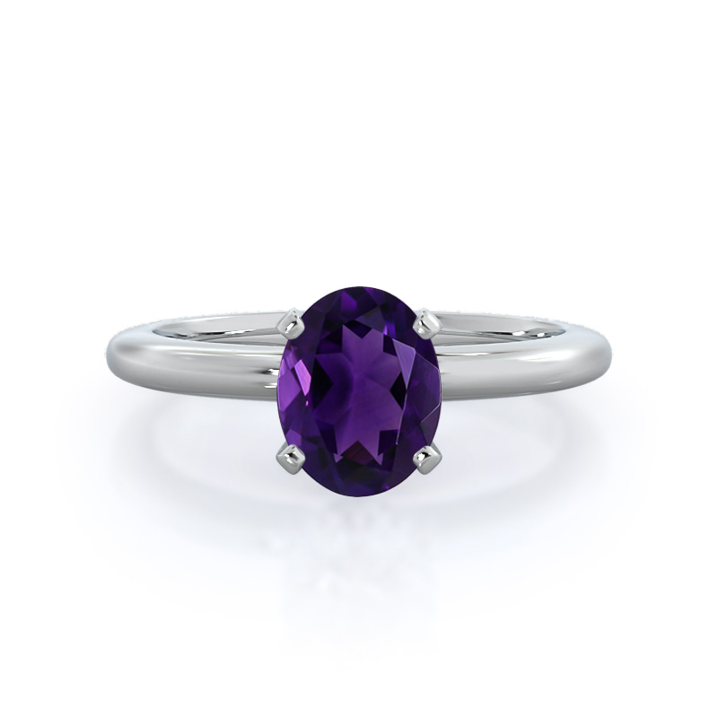 Classic Four Prong Solitaire Oval Amethyst Ring; 14kt white gold