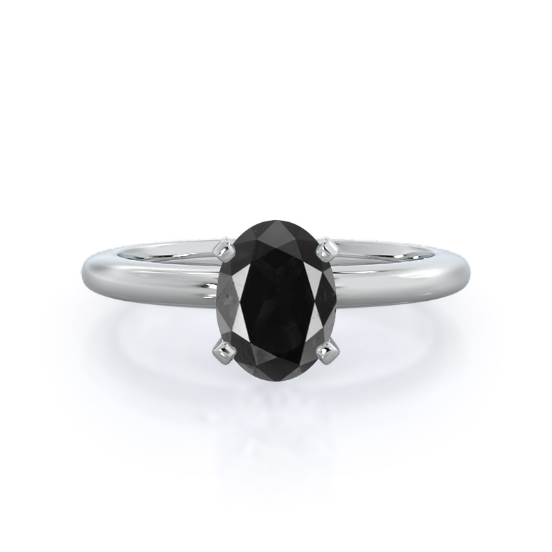 Classic Four Prong Solitaire Black Diamond Ring; 14kt white gold