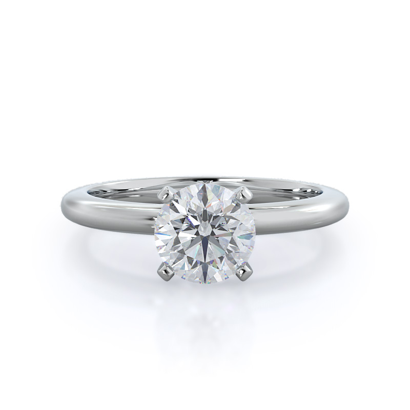 Classic Four prong solitaire diamond ring, 14KT White Gold