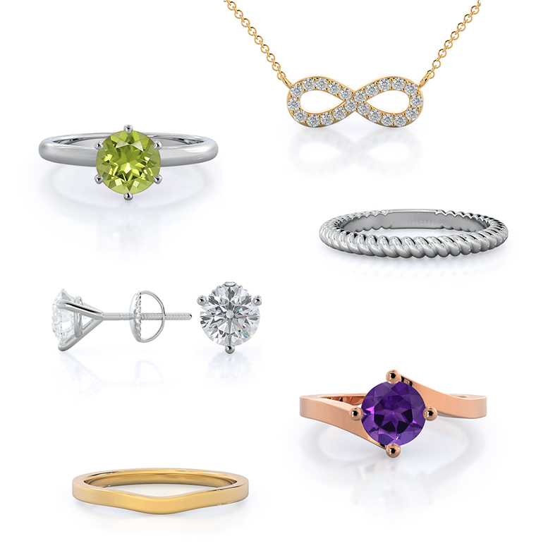 Holiday Gifts Under $500: Infinity necklace, Peridot ring, Wedding bands, Martini diamond stud, Flourish amethyst rose gold ring