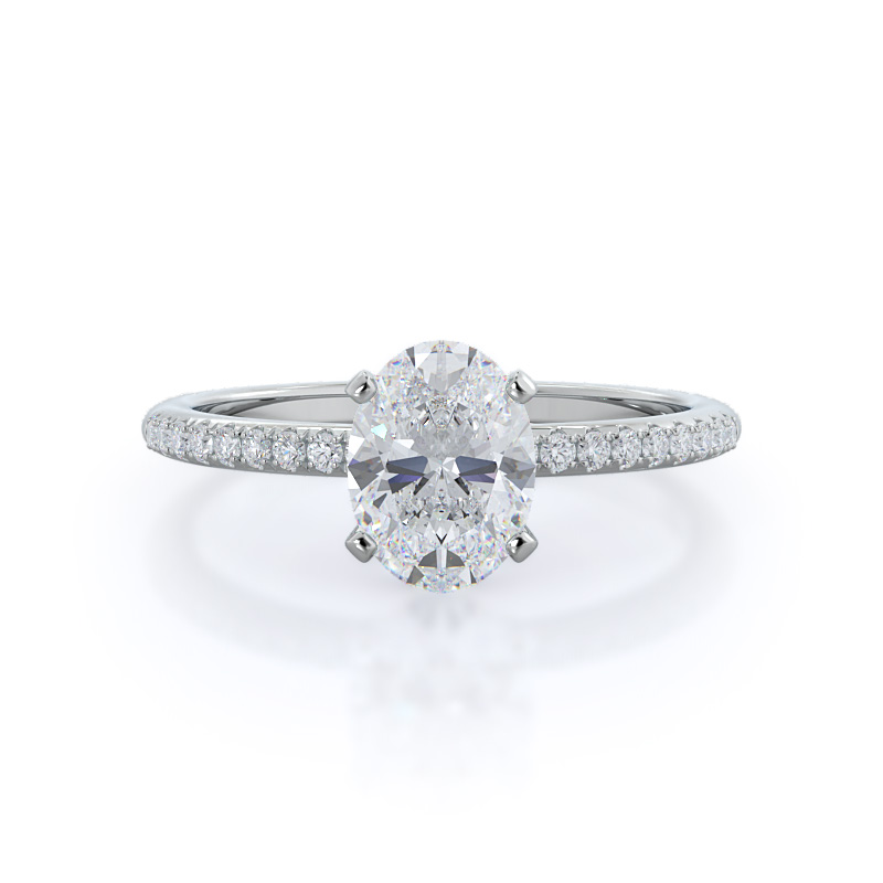 Micropave oval diamond engagement ring; in white gold: front view