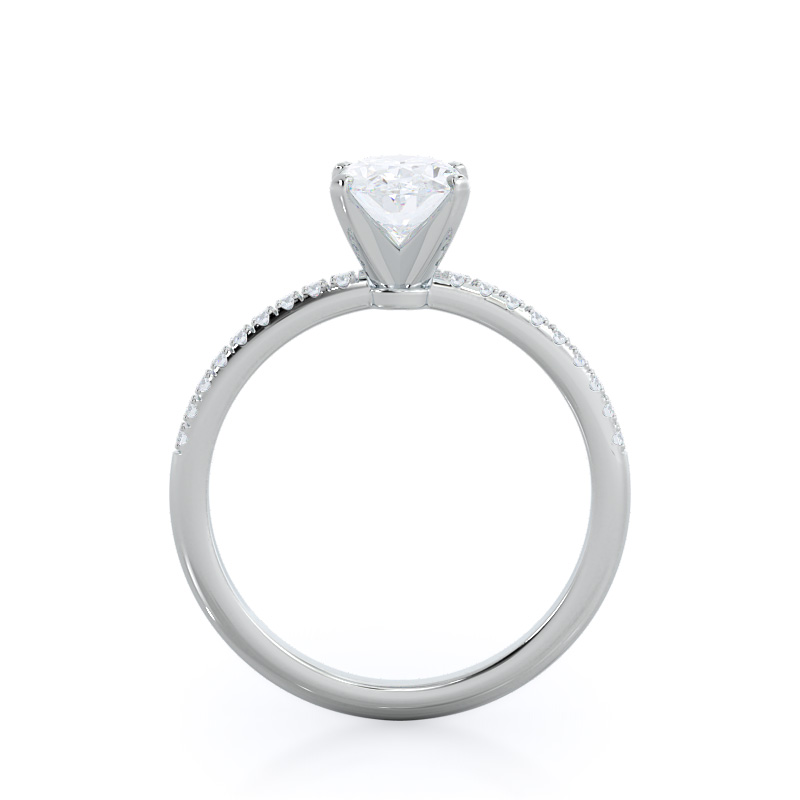 Micropave oval diamond engagement ring; in white gold: profile view
