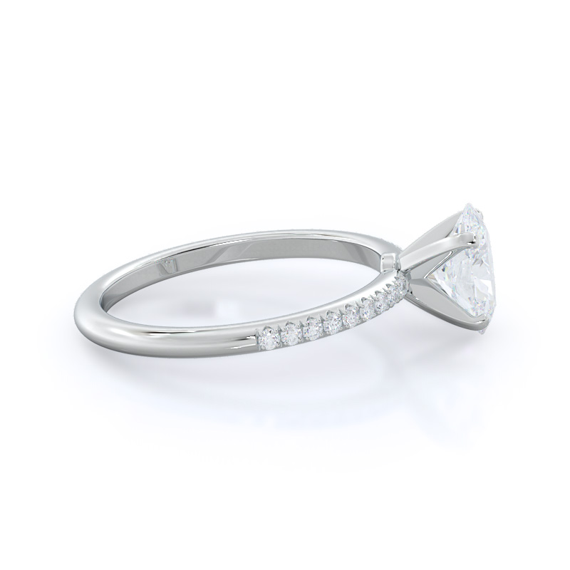 Micropave oval diamond engagement ring; in white gold: side view