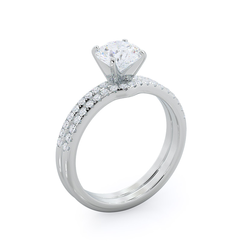 Micropave oval diamond engagement ring; in white gold: perspective view with matching band