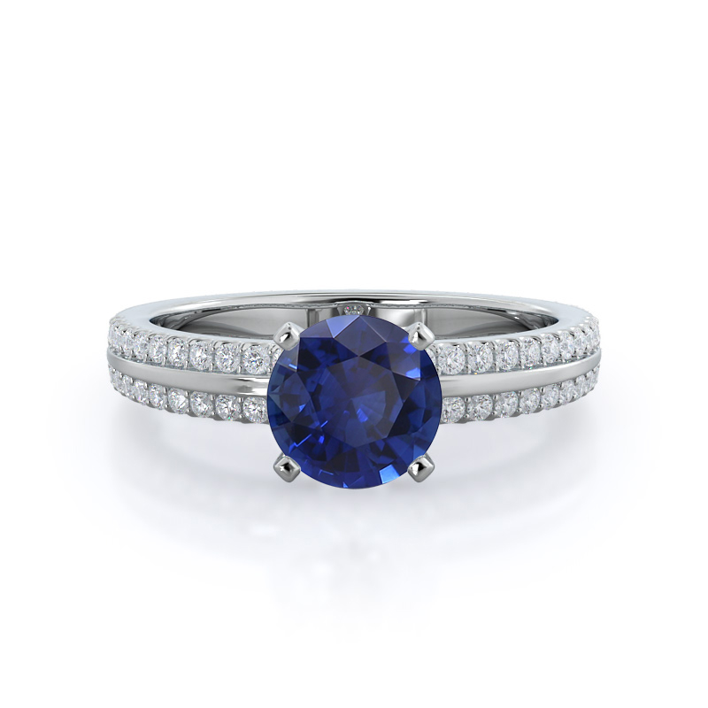 Pave Edged Sapphire Ring; 14kt white gold
