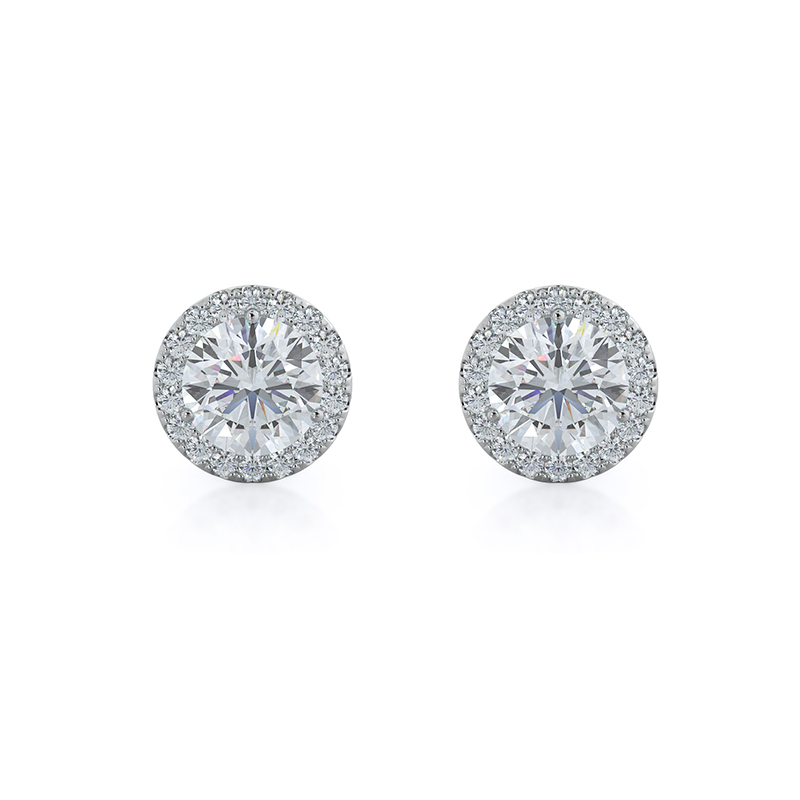 Round Lab Diamond Halo Earrings; 14kt white gold