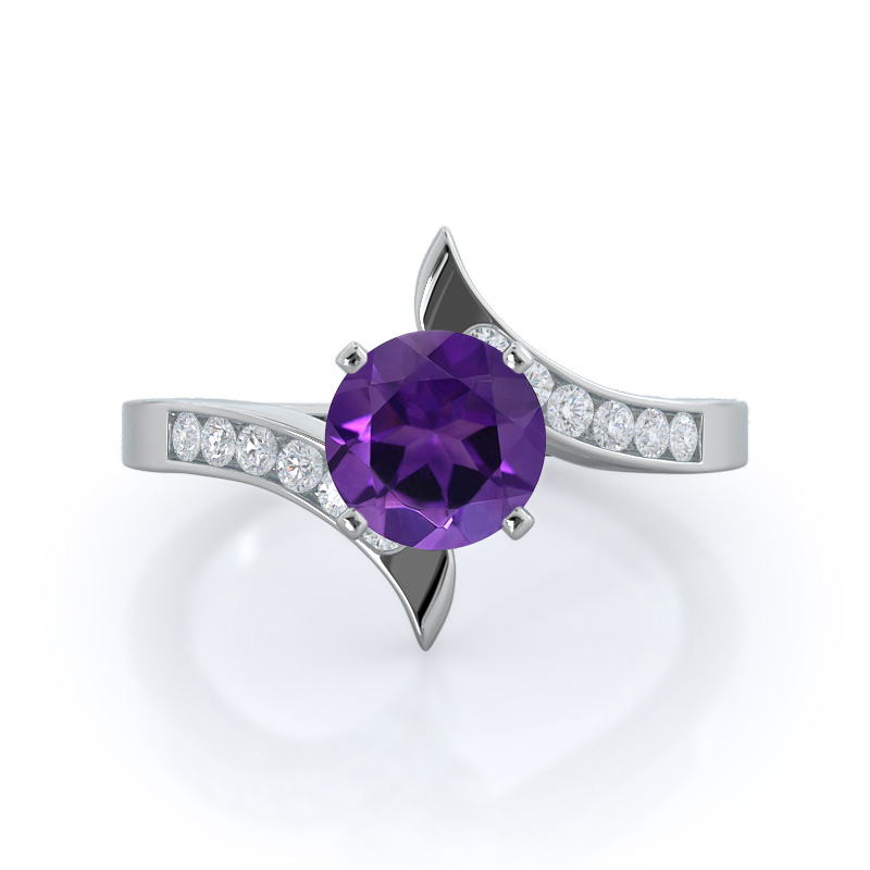 Tapered Amethyst Ring, 14KT White Gold